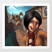 mikasa Art Prints featuring Mikasa Takes a Selfie! by Misterstrum