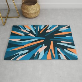 Blue Orange Abstract  Rug
