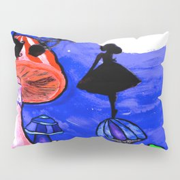 Trippy Original Alice in Wonderland by the Moon Mushroom Mixed Media Painting on Paper Pillow Sham