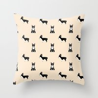 boston terrier Throw Pillows featuring Boston Terrier by Luiza Sequeira