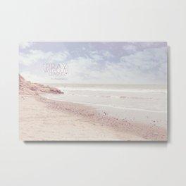 Pink Heart Beach. (Pray) Metal Print