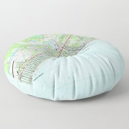 Map of North Myrtle Beach South Carolina (1990) Floor Pillow