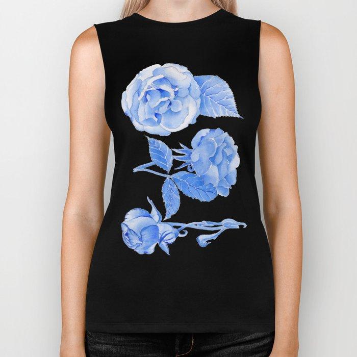 Blue Roses Watercolor Biker Tank