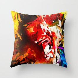 Totem Red Man and the Bird with the White Beak JVO2020P Throw Pillow