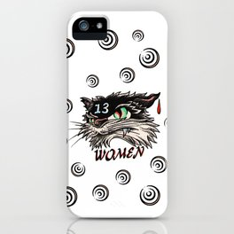 Unlucky with women black cat iPhone Case