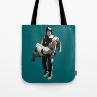 beth hoeckel Tote Bags featuring daryl and beth by Mia Eshkol