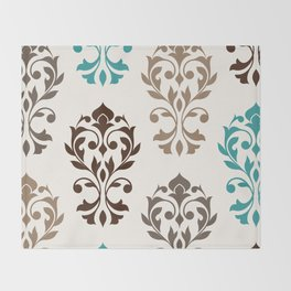 Heart Damask Art I Browns Teal Cream Throw Blanket