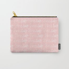Boss Lady Pattern pink/white Carry-All Pouch