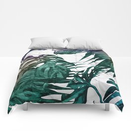 Tropical Palm Leaves on Marble Comforters