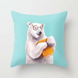 Smart Polar Bear Book Lover Throw Pillow