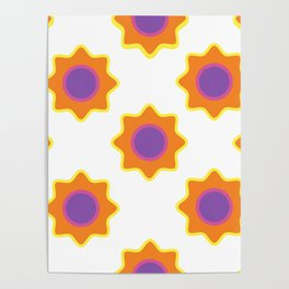 Background in the style of 60x. Stylized flowers on a white background. Poster
