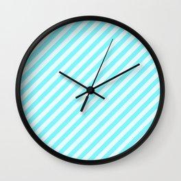 Aqua Blue Stripes Pattern Wall Clock