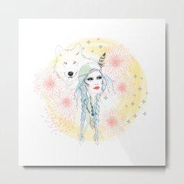 Girl and wolf Metal Print