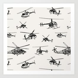 Helicopters on Linen White Art Print