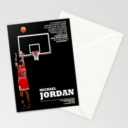 Michael Jor-dan last shot, Chi-cago Bulls poster, Canvas, Decor art for Gym, Kids gift, Bedroom, Office Decor, mancave with quote / citation Stationery Cards