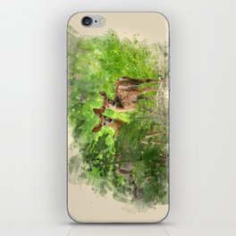 Watercolor Deer iPhone Skin