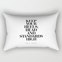 Keep Your Heels High Black and White Inspirational Typography Quote Grl Pwr Girls Bedroom Poster Rectangular Pillow