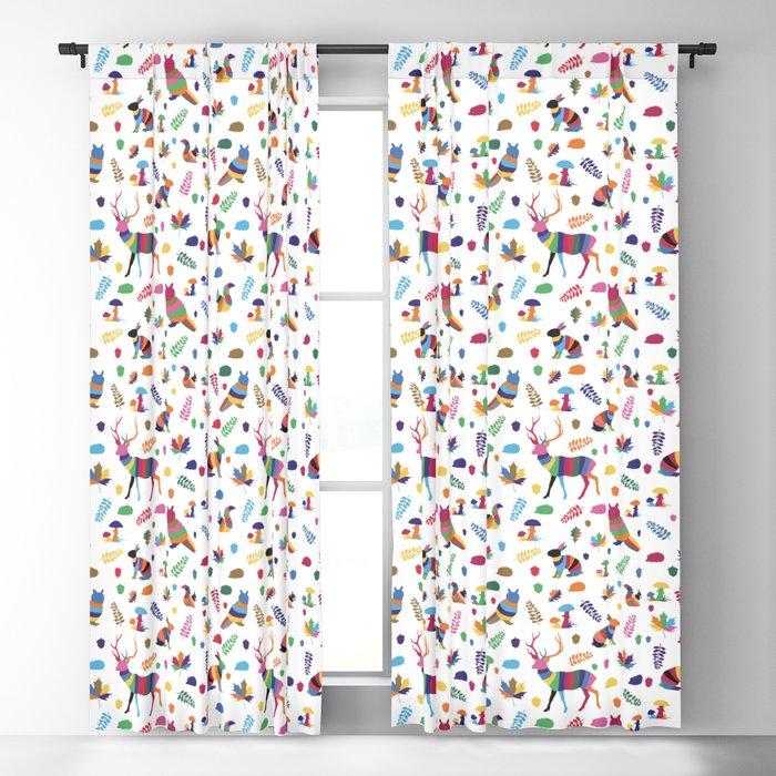 colorful woodland animals pattern Blackout Curtain