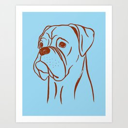 Boxer (Blue and Brown) Art Print
