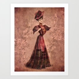 Woman in red Edwardian Era in Fashion Art Print