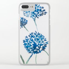 Blue Floral Watercolour Clear iPhone Case