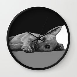 """Black and white puppers """"Sleepy"""" pencil drawing Wall Clock"""