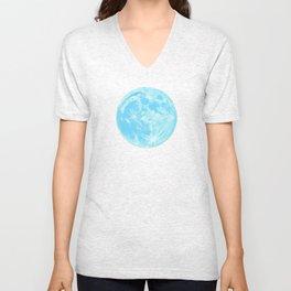 Moon Portrait 4, Blue Moon Unisex V-Neck