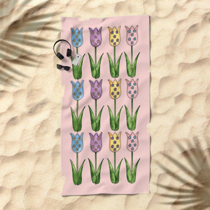 Tulip Row Beach Towel