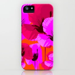 Pink And Red Poppies On A Orange Background - Summer Juicy Color Palette - Retro Mood iPhone Case