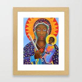Erzulie Dantor Black Madonna Voodoo Art Goddess Virgin Mary with Child Christmas Gift Framed Art Print