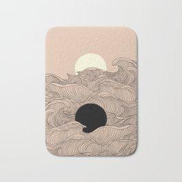 Abstract landscape yin yang moon & sun ocean wave  Bath Mat