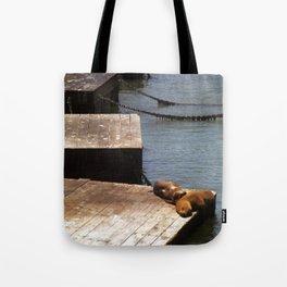 Sunbathing Seals Tote Bag
