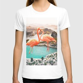 Collage, Flamingo, City, Creative, Nature, Modern, Trendy, Wall art T-shirt