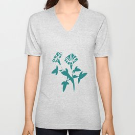 Stylized Petunia Flower Unisex V-Neck