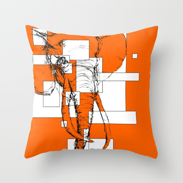 Orange is the New Elephant Throw Pillow