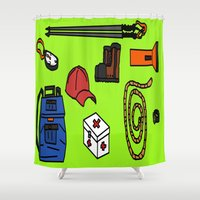 hiking Shower Curtains featuring Hiking by Jonny Penn