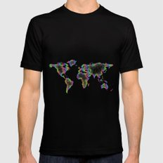 Rainbow World map Mens Fitted Tee Black MEDIUM