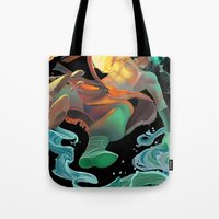 avatar Tote Bags featuring Avatar by Andrea Montano