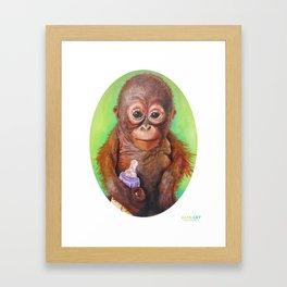 Budi the Rescued Baby Orangutan Framed Art Print