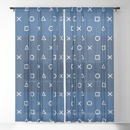 Gamepad Symbols Pattern - Navy Blue Sheer Curtain