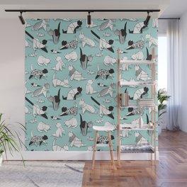 Origami kitten friends // aqua background paper cats Wall Mural