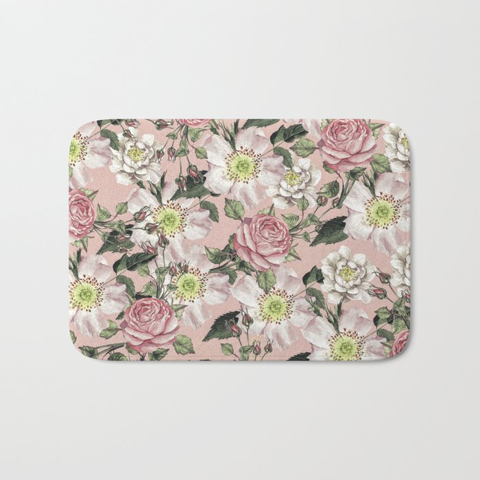 Vintage Rose Pattern Pink Bath Mat