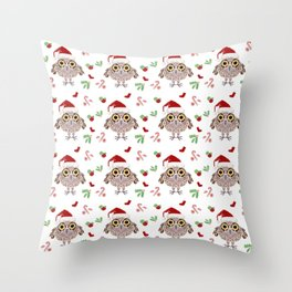Holiday Owl Pattern  Throw Pillow