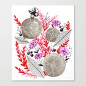 Flower Collage Painting With Black Butterfly Red Floral
