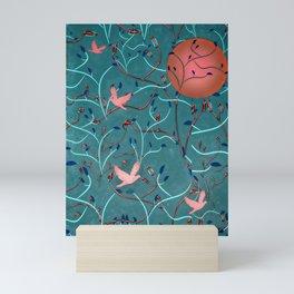 Art Nouveau Moon and Doves (Bronze and Blue) Mini Art Print