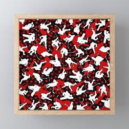 Ice Hockey Player Canada Flag Camo Camouflage Pattern Framed Mini Art Print
