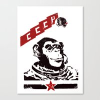soviet Canvas Prints featuring Soviet Space Monkey by Chris Kawagiwa