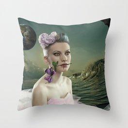 Rose in the alien world Throw Pillow