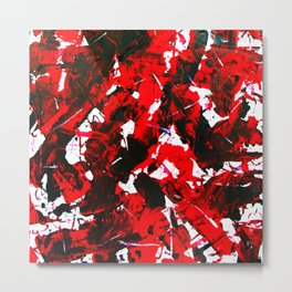 Abstract Violent Paint Expessionism Art Red and Black Metal Print