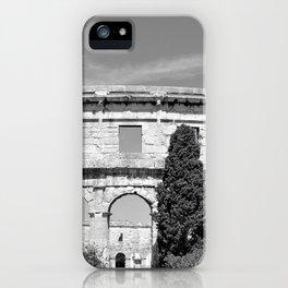 arena amphitheatre pula croatia ancient black white iPhone Case